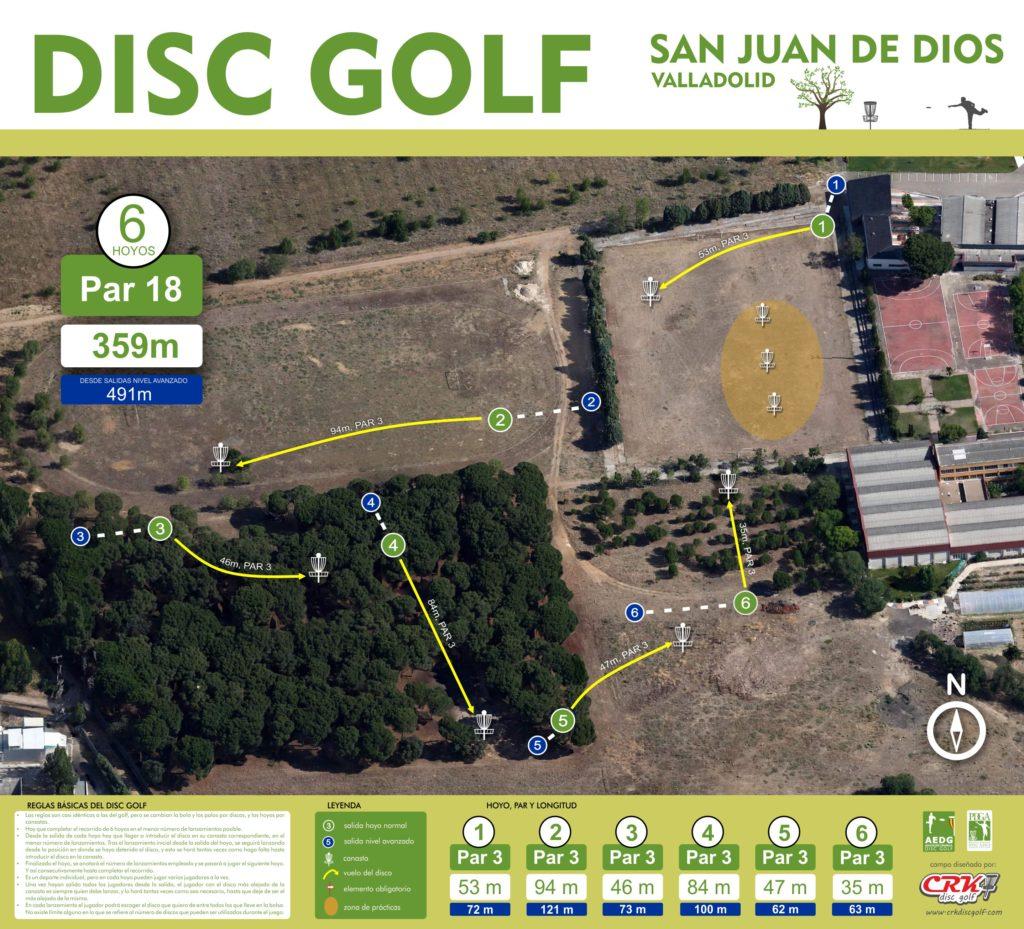 Campo CRK Disc Golf en el Colegio San Juan de Dios. Valladolid