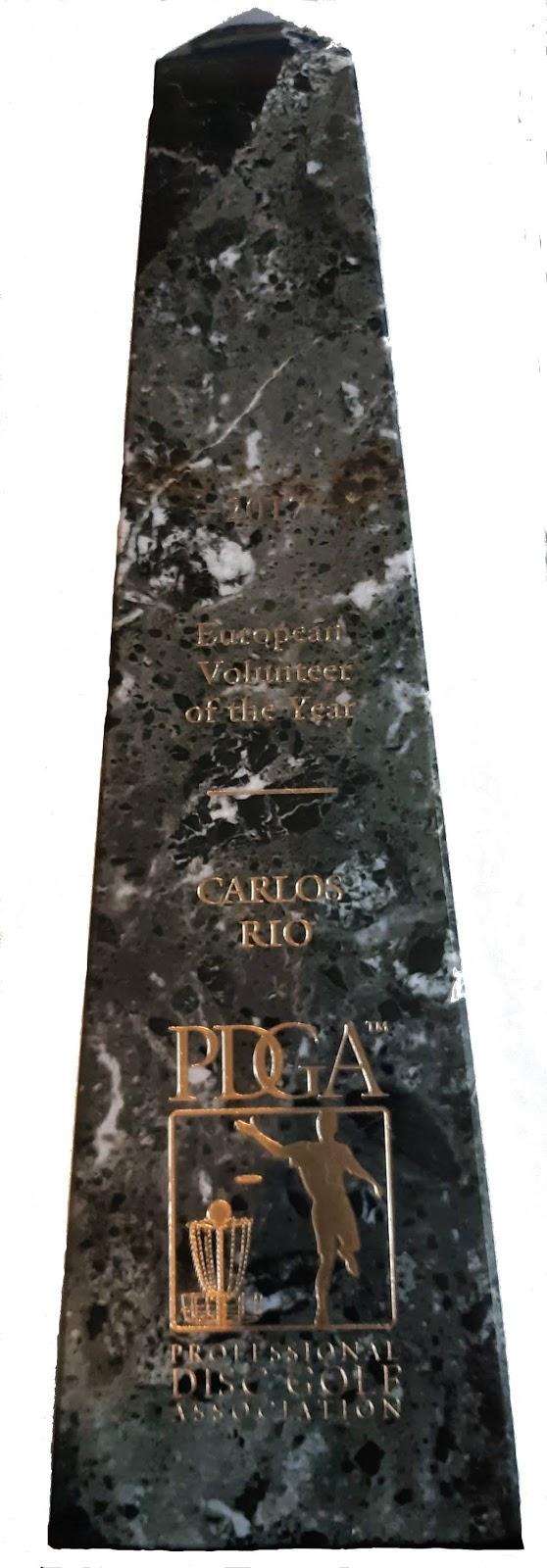 Carlos Río es elegido Voluntario del año 2017 (Europa) por la PDGA